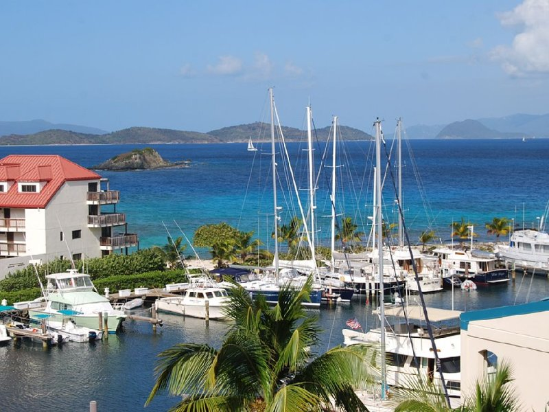 Our gorgeous view from our balcony towards the British Virgin Islands and our marina