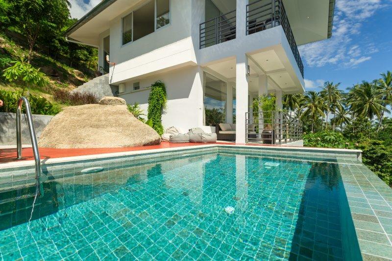 villa piscine tropicale lever de soleil Homes Samui - Vue sur la mer