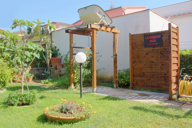 Comfortable outdoor showers in the garden with hot water