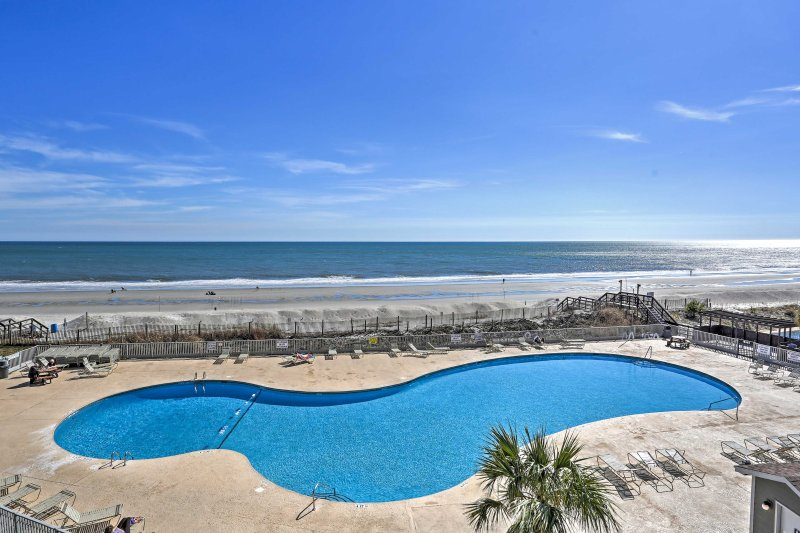 A rejuvenating beach retreat awaits you at this lovely vacation rental condo in Myrtle Beach.