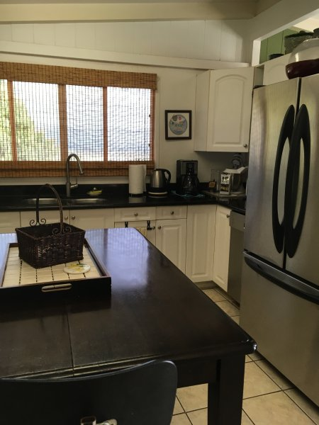 Kitchen, double wide Refrigerator, microwave, dishwasher, fully furnished, pots pans, dishes etc
