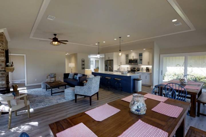Open Dining, Family Room, Kitchen.  Farm tables seat 12 comfortably.  Four stools at the island.  ENJOY!