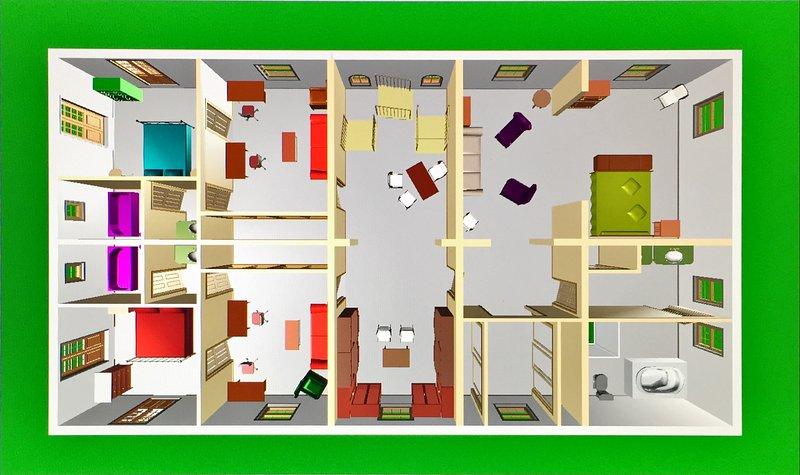 Floor plan with 3 Suites