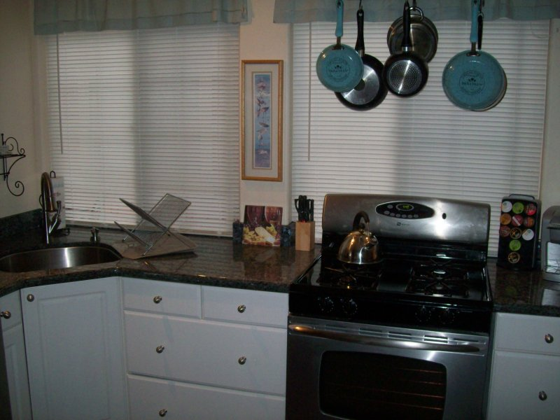 Nicely updated kitchen, Keurig and a 10 cup coffeemaker, and assorted essentials