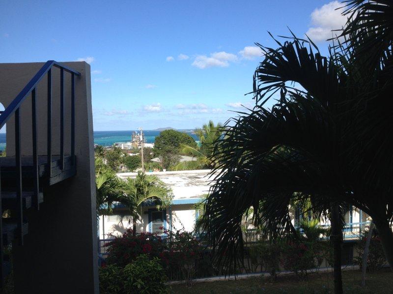 Dal palmo ombreggiata balcone, si affacciano sulle acque azzurre e Buck Island.