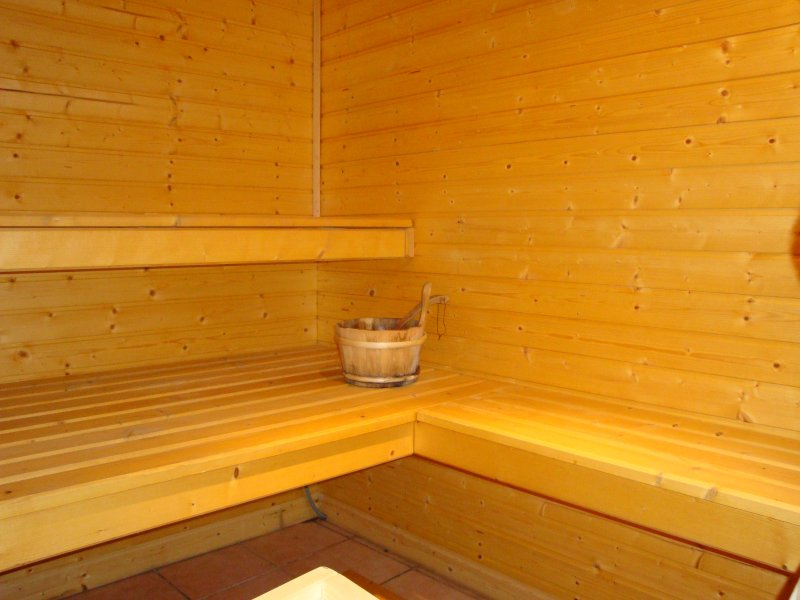 Sauna with direct access to the pool