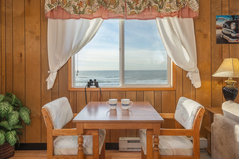 Breakfast views overlook the sea