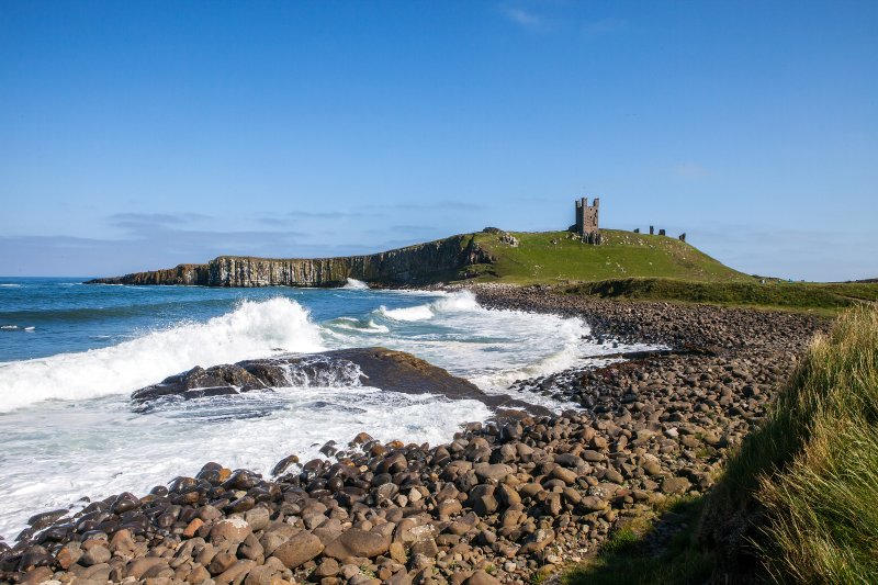 Newton-by-the-Sea beach with Dunstanburgh Castle in the background.