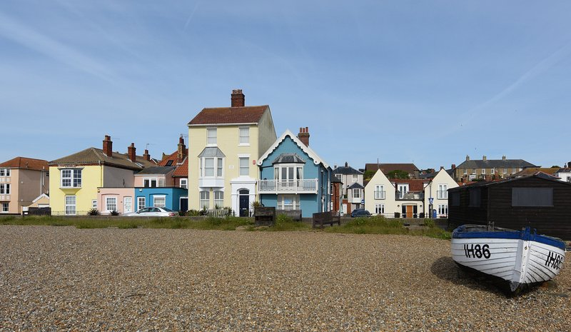Oakley House..blue grade II listed house directly looking onto Aldeburgh sea front.