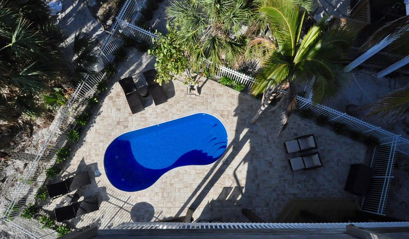 Bird's eye view of pool area