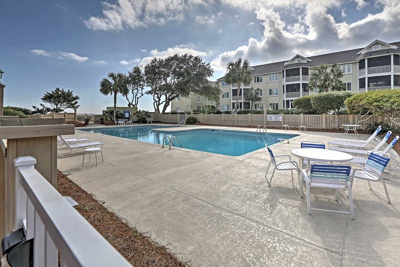 This condo offers pool access and walking distance to the beach.