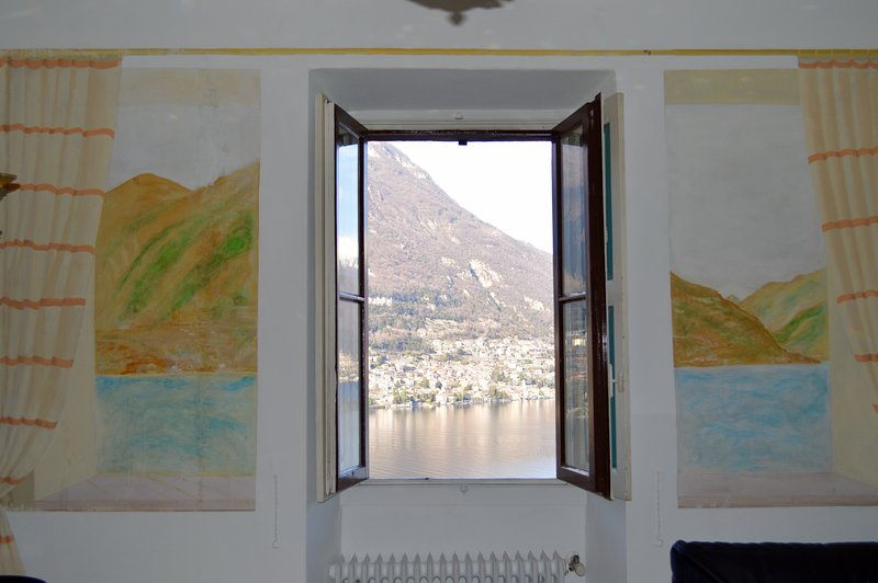 Picture window with original Frescos and wonderful view