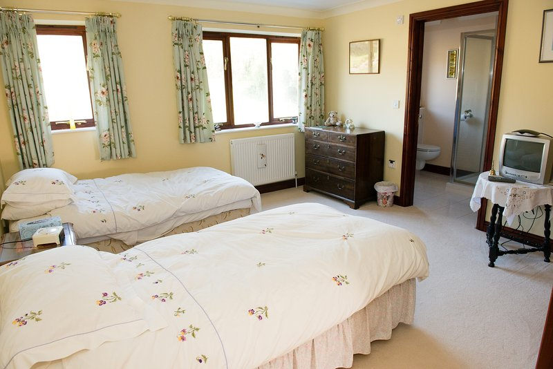 Beautifully light and airy twin room with stunning views of pond and gardens