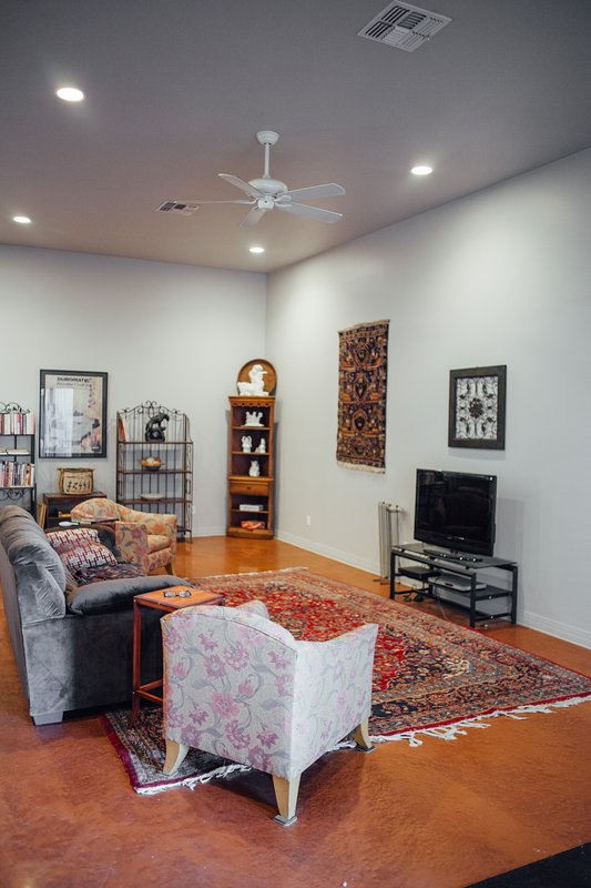 Living room has a library, comfortable couches, and a flat screen TV.
