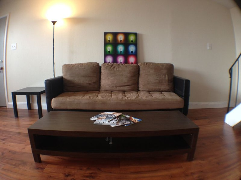 Comfortable sofa that turns into a futon with coffee table.