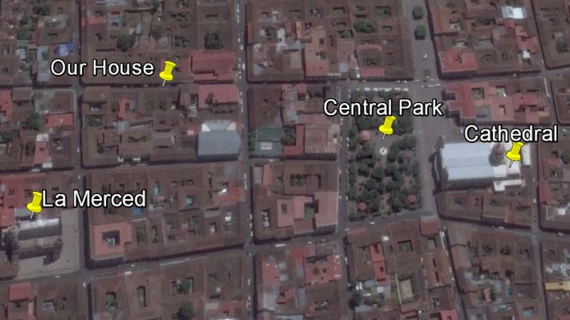 vista de Google Earth de la zona histórica incluyendo Central Park, la catedral, la iglesia de La Merced