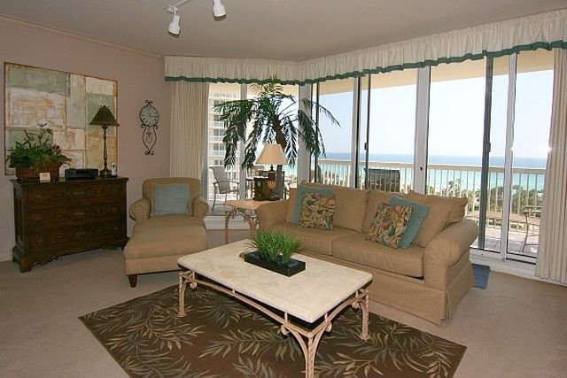 Living Room and Beach Front Balcony