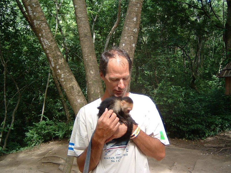 Spider Monkey with my friend Peter at near by Gumbalimba Park.