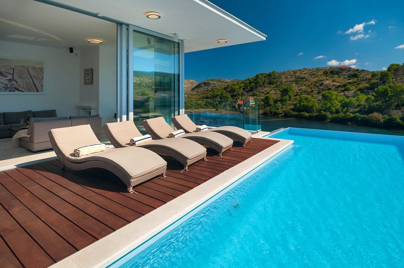 Luxury Villa Blue Star of Brac with pool by the sea and beach in Bobovisce on Brac