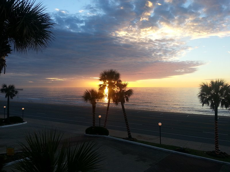 A sunrise picture taken from the front of your condo.
