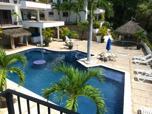 Large salt water pool with heated whirlpool, fountain, palapas, and outdoor bar
