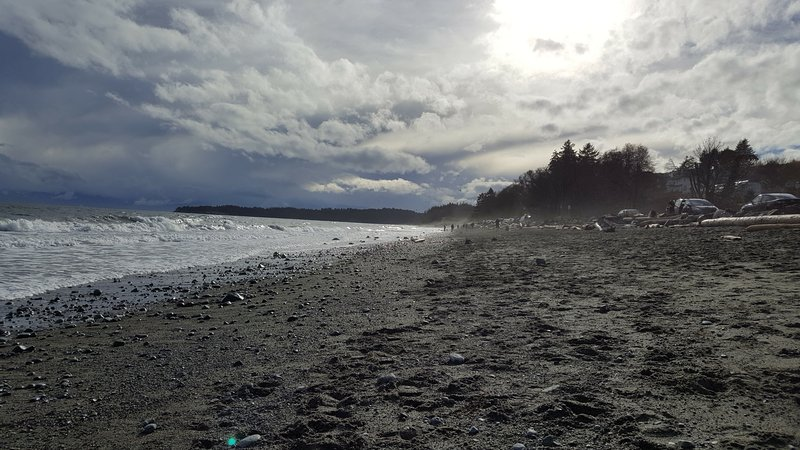 Looking across the beach at the Esquimalt Lagoon.