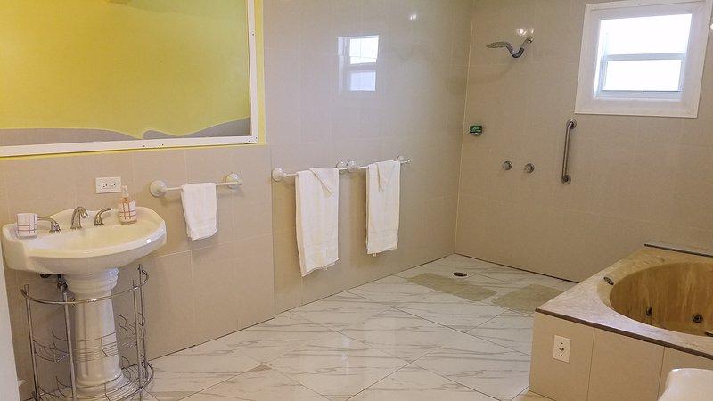 Partial view of master bathroom