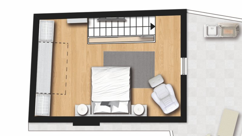 master bedroom with built-in closet agguuntivo. Minibar, TV 49 ""