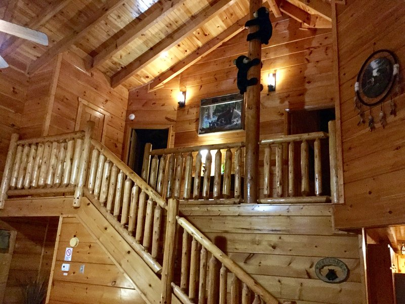 Log staircase in living room