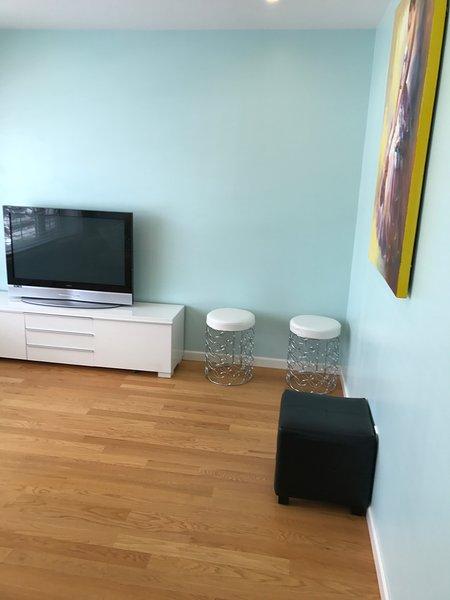 Luminoso soggiorno dispone di vista con 1 divano letto matrimoniale, TV via cavo, e l'altoparlante bluetooth