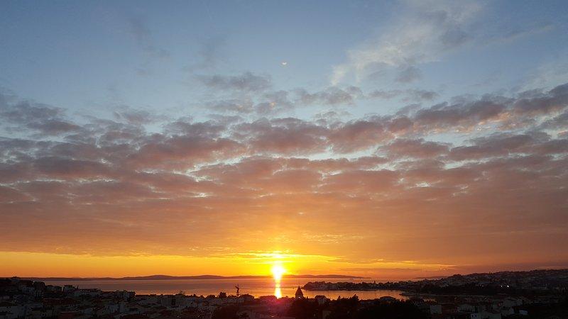 puesta de sol desde el balcón