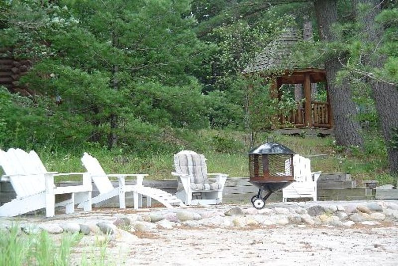 chairs and fire pit at the Lake