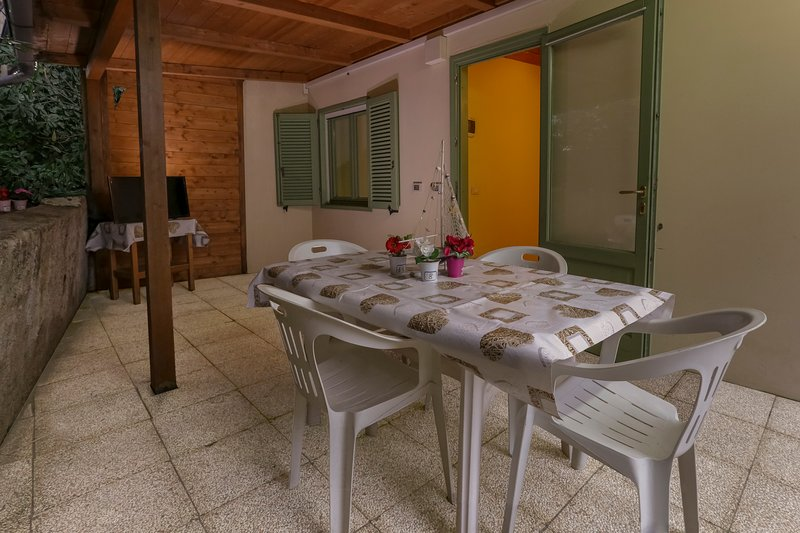 The private outdoor courtyard with TV and dining table Show picture list
