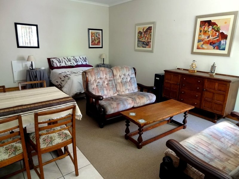 Comfortably sized studio room with double bed, lounges, dining table.