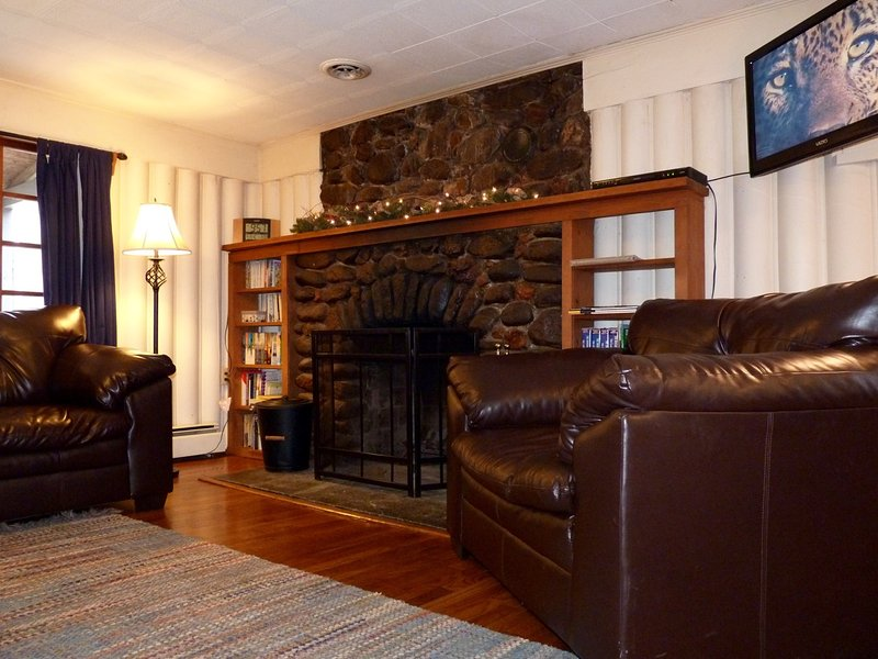 Our Spacious Living Room w/ Rock Fireplace and Flat Screen TV
