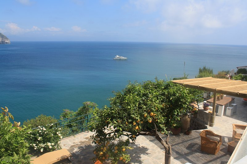 The House of Ale - flowered terrace on the Maronti bay and the island of Capri