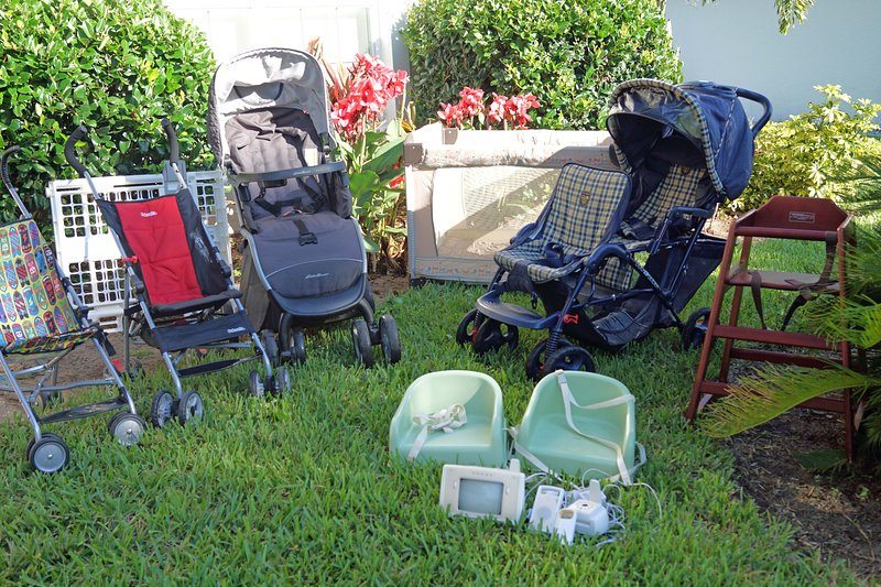 Baby Gear: Heavy duty double and single strollers, pack-n-play, high chairs, baby gates, full crib!