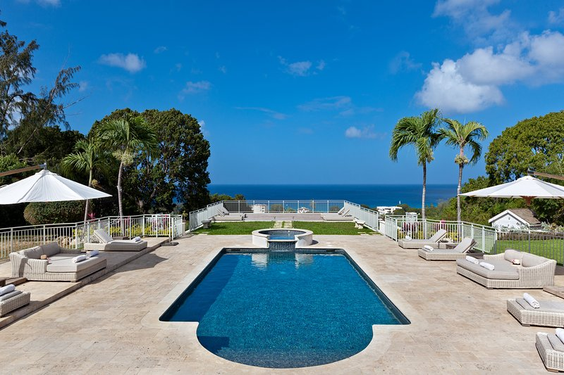 The incredible pool deck with views of the ocean