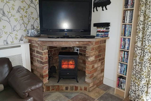 New Fireplace built with back up heater