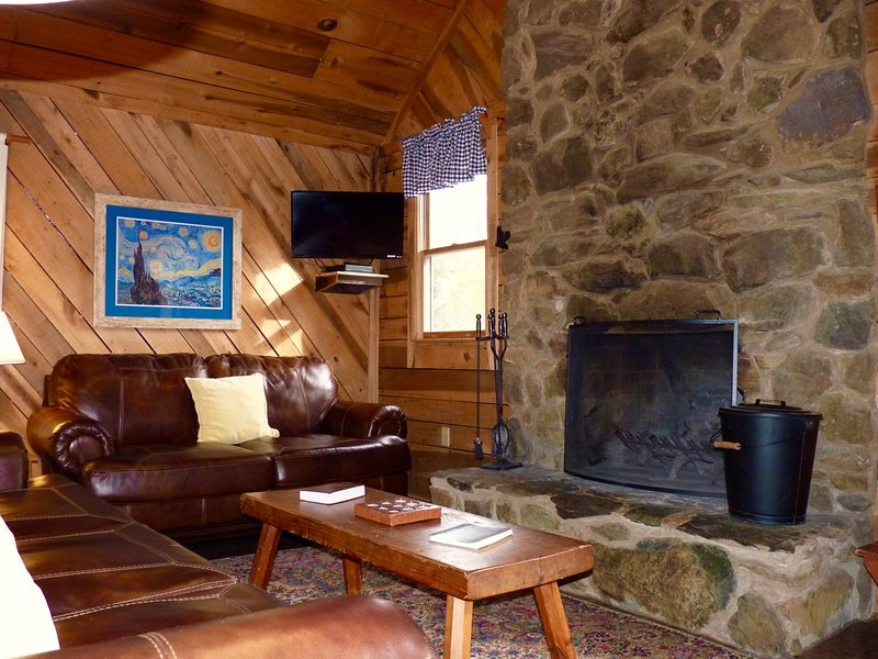 The Great Room Features a Rock Fireplace and Comfy Furniture