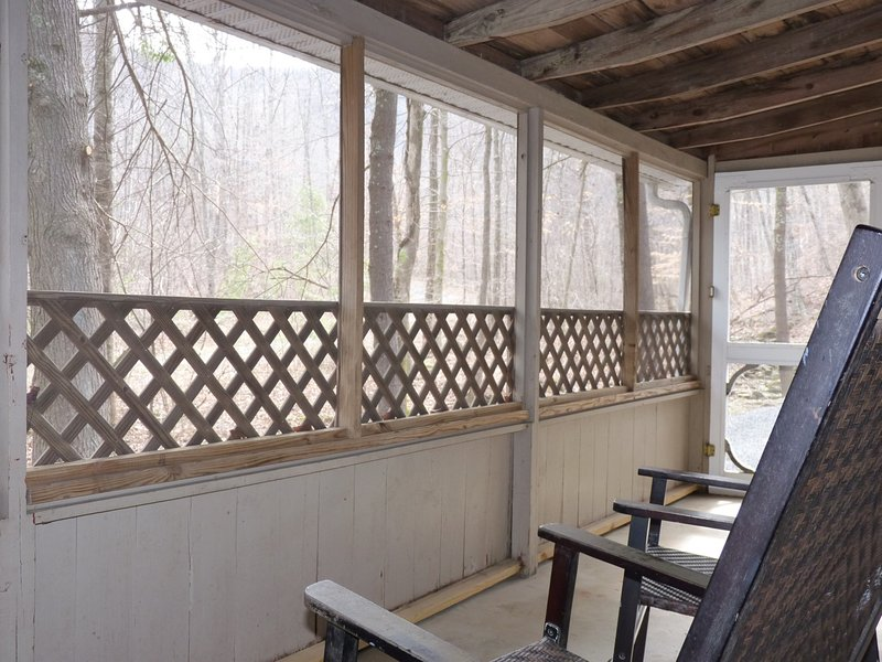 The Screened In Porch, Overlooking the Creek, with Rocking Chairs for Sitting & Relaxing