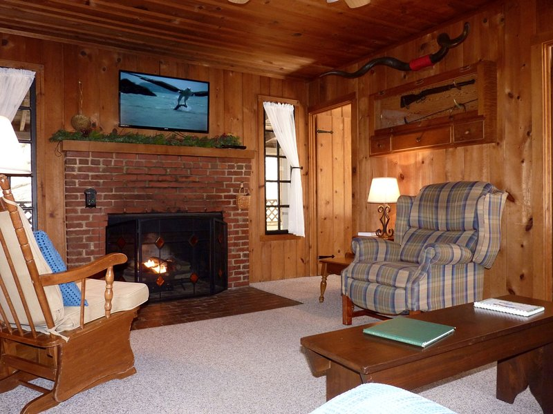 The Living Room Features a Gas Fireplace and Flat Screen TV