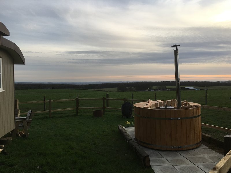 Enjoy a relaxing time in the Wood burning hot tub and enjoy the endless views.