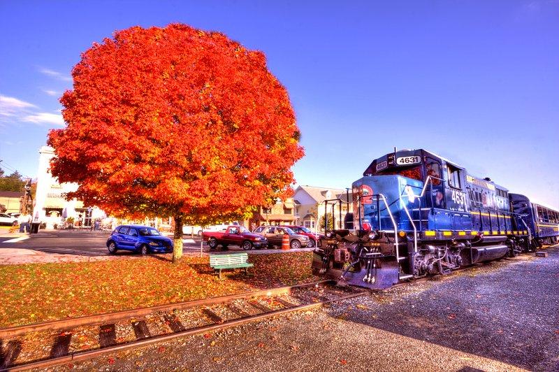 Scenic Posto Railway. Blue Ridge Downtown na queda