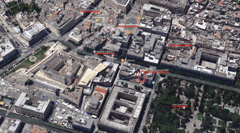 Aerial photo. Note the proximity to the town park, the castle and Piazza Sant'Oronzo.