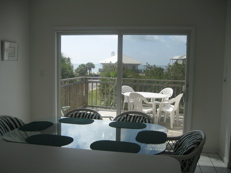 This photo is taken from kitchen.  You will cook and watch The Gulf.
