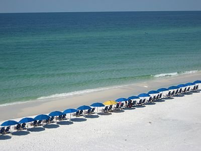 The sugary, white sand beach is waiting for you!  Sit back, relax, and enjoy our beautiful beach