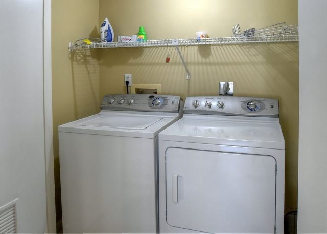 Full size washer and dryer downstairs.