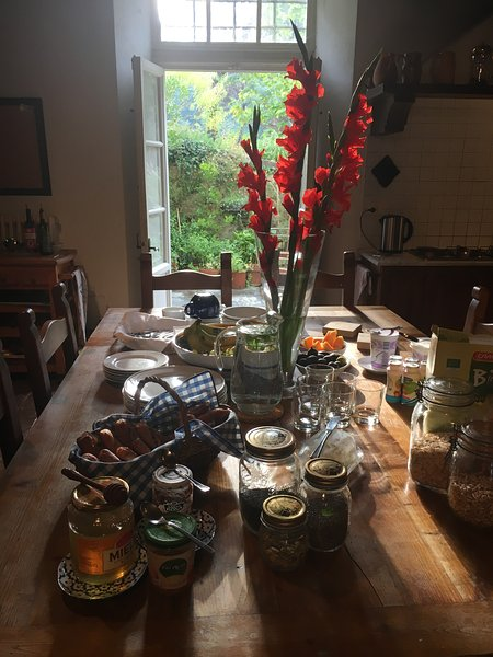 The Kitchen table laden with Breakfast goodies
