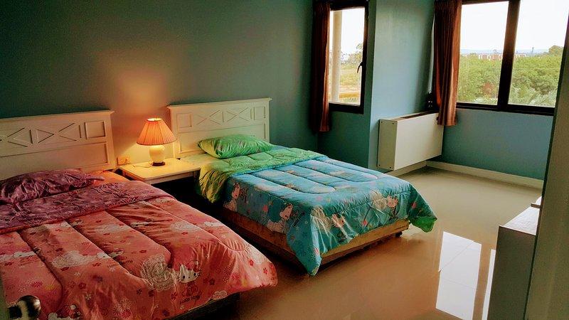 As camas são colocados na sala de cor azul, com janelas brilhantes e vista para o jardim